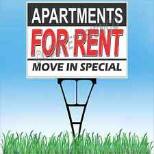 "18""x24"" APARTMENTS FOR RENT Outdoor Yard Sign & Stake Lawn Move In Special Lease"