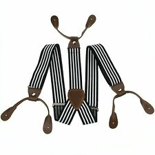 Fashional Men's Suspenders Braces Adjustable Leather Button Holes Stripes BD760