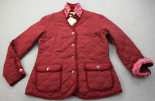 BOBBY JONES CLOVER Women Burgundy Red Quilted w Floral Cuffs Collar Jacket NWT M