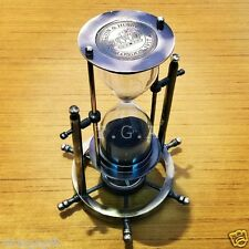Antique Nautical Brass Sand Timer Hourglass With Wheel Compass Base & Hanging