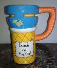COFFEE TRAVEL MUG No Spill Non Skid Coach on the Go Cup Ceramic no BPA w/ cover