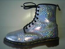 DOC DR MARTENS HOLOGRAPHIC SILVER METALLIC BOOT MADE IN ENGLAND RARE VINTAGE 6UK