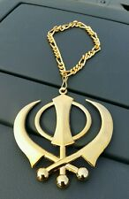 XLarge Punjabi Sikh Steel Khanda Golden Colour Car Rear Mirror Hanging Pendant