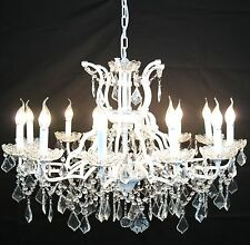 Large White 12 Arm Branch French Shallow Cut Glass Chandelier