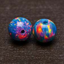 Pair (2) Fabulous Fiery Colors ~ Multi-Colored Blue Fire OPAL 4mm Round BEADS