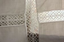Antique French linen lace sheet bedcover 66X90 RARE lovely handmade coverlet