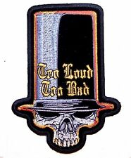 TOO LOUD SKULL TOP HAT EMBROIDERED PATCH 3430 skulls biker jacket patches NEW
