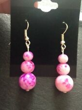 Pink Glass Drawbench Earrings, Drawbench Glass, Drop Earrings