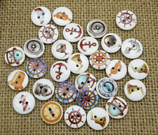 Lot of 10 NAUTICAL / BOAT 2-hole Wooden Button 15mm Scrapbook Doll Craft (9123)
