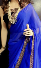 Indian Summer collections Designer Blue Border Saree with Black Blouse Diffrent
