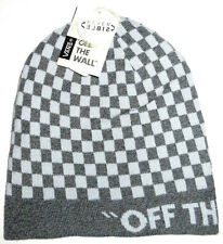 MENS VANS CHECKED GRAY REVERSIBLE  BEANIE HAT CAP ONE SIZE