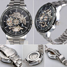 Men Silver Stainless Steel Automatic Mechanical Skeleton Sport Army Wristwatches