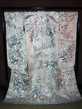 TRADITIONAL JAPANESE WEDDING KIMONO UCHIKAKE WALL HANGING ART DECOR Silver Crane