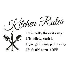 Vinyl Removable Kitchen Rules Words Wall Stickers Decal Home Decor Art Mural 1