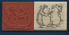 HEDGEHOG Girl FRIENDS Card Gift Tag NEW Stampin Up! 2000 Wood Mount RUBBER STAMP