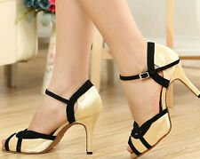 New Women Gold Satin Latin Salsa Ballroom Dance Shoes High Heels Size 10