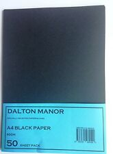 A4 50 SHEET PACK BLACK 80GM PAPER, HIGH QUALITY ARTS CRAFTS DESIGN COVERS