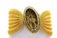 Authentic Geneva Mesh Band Watch Gold Silver Copper Oval Face Stone Roman number