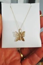 """14k YG FILIGREE BUTTERFLY NECKLACE  18"""" CHAIN."""