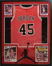 MICHAEL JORDAN SIGNED BULLS JERSEY FRAMED COLLAGE AUTO AUTOGRAPH UDA HOLOGRAM