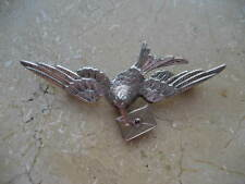 Antique Victorian Silver Dove Bird w Ruby cabochon Eyes carrying Letter ca 1860