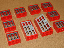 LEGO windows + doors barred prison jail castle (pack of 10) red grey BRAND NEW