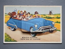 R&L Postcard: Novelty Ostende/Ostende Fold Out, 1950's Classic Car & Family