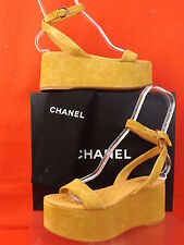 15S NIB CHANEL DRK BEIGE SUEDE GOLD CC LOGO WEDGE PLATFORM SANDALS 36.5 $875
