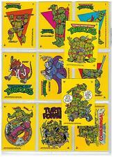 1989 TOPPS TEENAGE MUTANT NINGA TURTLES CARTOON TMNT PUZZLE MINT STICKER SET )