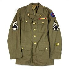 WWII US ARMY ENLISTED MEN / EM OD WOOL DRESS JACKET 4 POCKET PACIFIC CMD RIBBON