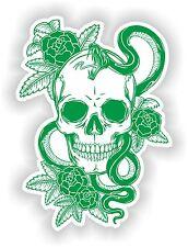 Green & White Skull Sticker Rose Snake Skeleton Car Guitar Book Door Skate #01