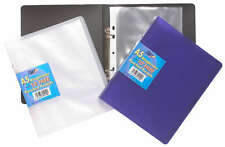 A5 Slim Ring Binder Book + 10 Plastic Punched Clear Pockets Quality Small Folder