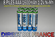8 Piles AAA Rechargeable 1600mAh 1.2V ULTRA NIMH R3 R03 LR3 LR03 Batterie Accus