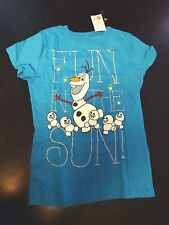 NWT Girl Gift Blue Disney Frozen Snowman Olaf Fun In The Sun Shirt (S 6-6x)