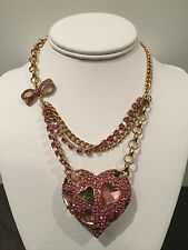 NWT rare Betsey Johnson Pinkalicious Crystal Large Pink Heart and bow Necklace