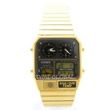 Citizen JG2008-81E Temperature Vintage Dual Time Analog Digital Gold Tone Watch