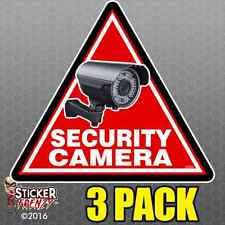 3 Pack TRIANGLE Security Camera Stickers Home Alarm Decal Vinyl Window #FS059