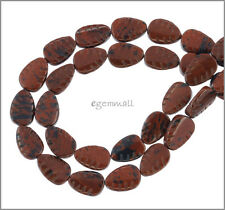 """16"""" Mahogany Obsidian Carved Pear Leaf Beads 12mm 89029"""
