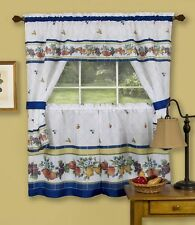 FRUITY TILES- COMPLETE KITCHEN CURTAIN SET- WINDOW CURTAIN/FRUITS apples,pears..