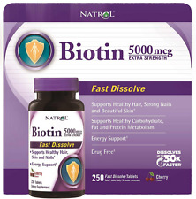 Biotin For Hair Growth 5000mcg Extra Strength Supplements Skin Nails 250 Tablets
