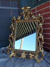 VINTAGE GRAND LARGE ROCOCO GOLD GILT ITALIAN WOOD STANDING FRAME w/ MIRROR