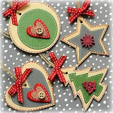 4x Handmade Christmas Decorations Wood (2 ¾ inch, 7cm) heart, tree, circle, star