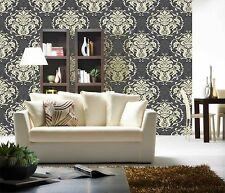 Damask Charcoal and Cream Wallpaper Chelsea Design From Debona