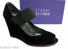 STUART WEITZMAN Black Suede Size 7 Wedges Shoes Mary Jane Heels or Pumps