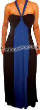 FX1 FUNFASH NEW BLUE BLACK COLOR BLOCK HALTER LONG MAXI PLUS SIZE DRESS 1X XL 16