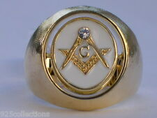 Turn Swivel Black White Enamel Clear Crystal Stone Mason Masonic Men Ring 15