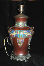 Antique Asian Bronze Copper  Vase Cloisonne Enameled Lamp Great Piece!!!