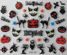 Nail art autocollants stickers ongles: Décorations Halloween citrouilles chats