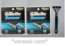 *20 Gillette Sensor Razor Blades Cartridges Refills Shaver Handle Fit Excel 3 5
