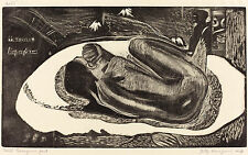 Gauguin Woodcuts: She is haunted by the Spirit (Manoa Tupapau) - Fine Art Print